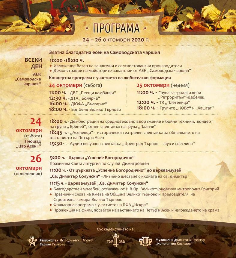 Велико Търново програма Димитровден 2020